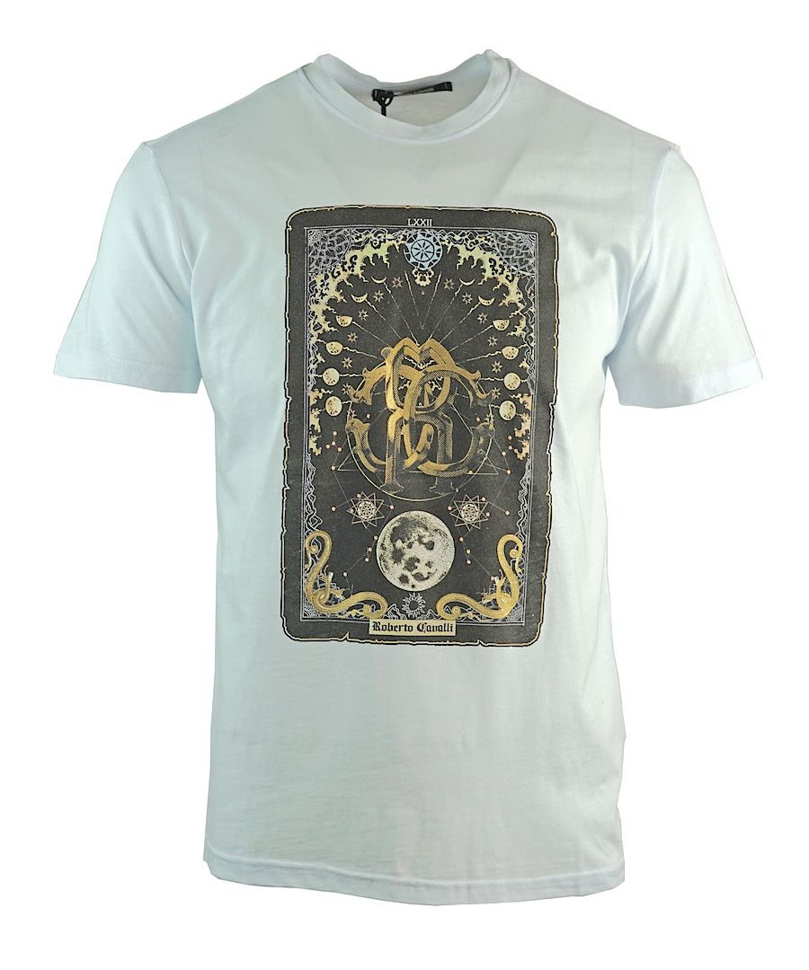 Image for Roberto Cavalli Card Logo White T-Shirt