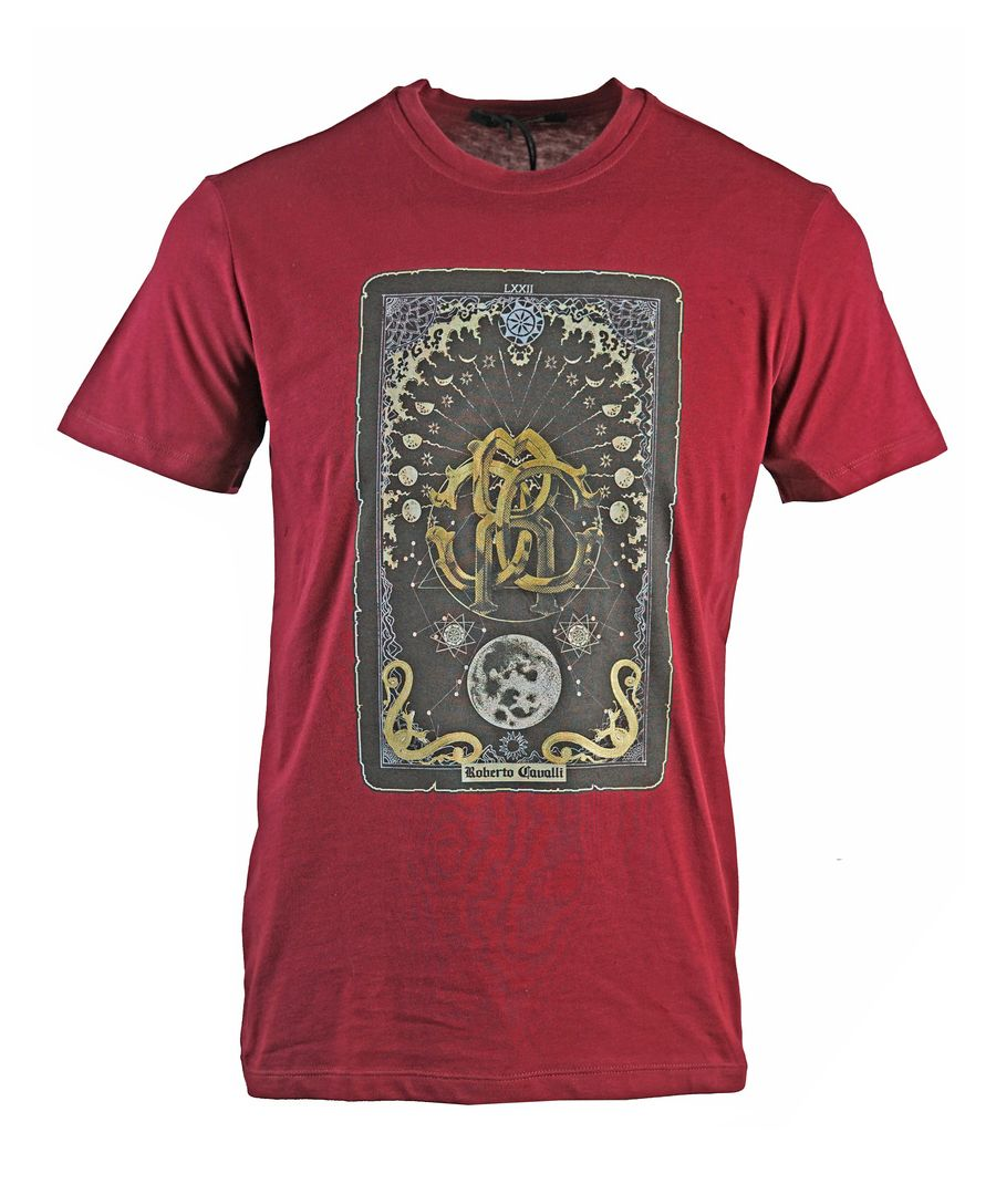 Image for Roberto Cavalli Card Logo Burgundy T-Shirt