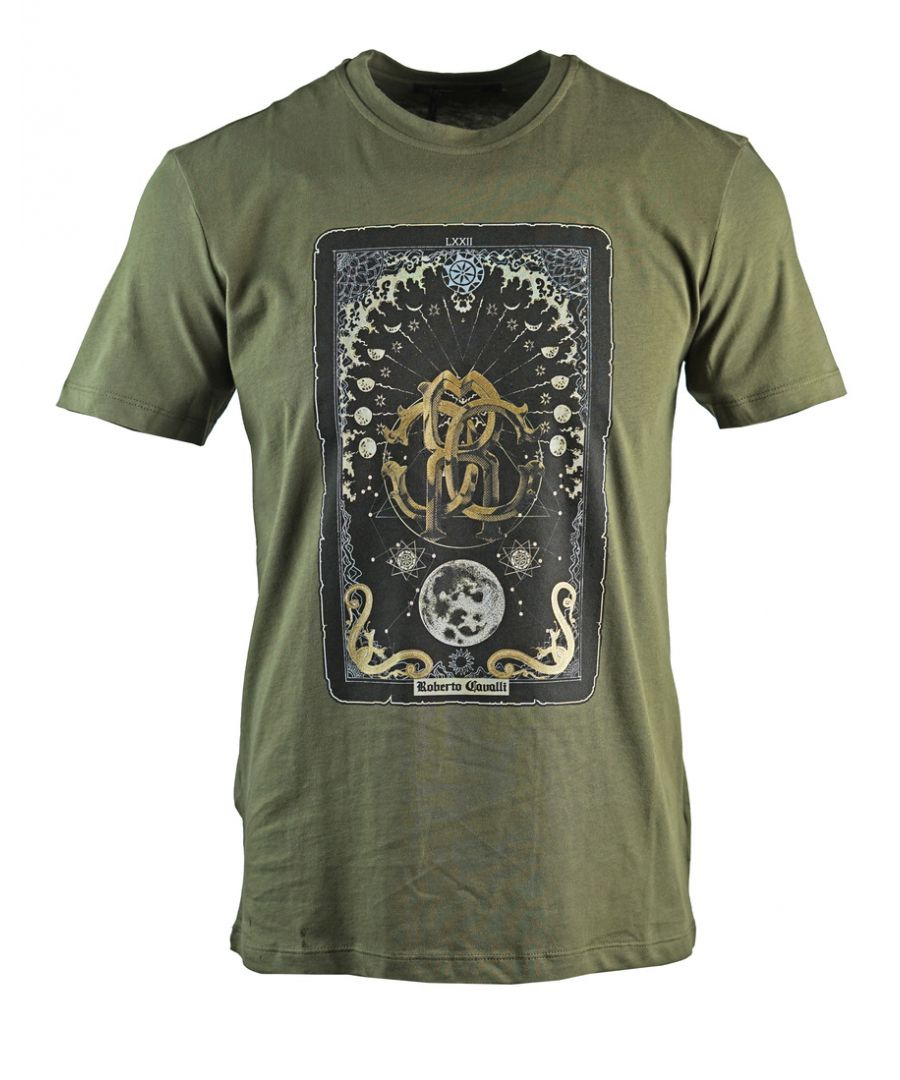 Image for Roberto Cavalli Card Logo Green T-Shirt