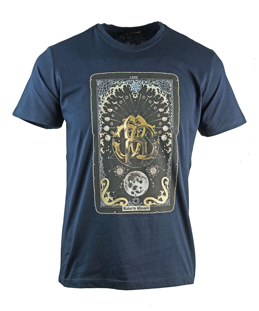 Image for Roberto Cavalli Card Logo Navy T-Shirt