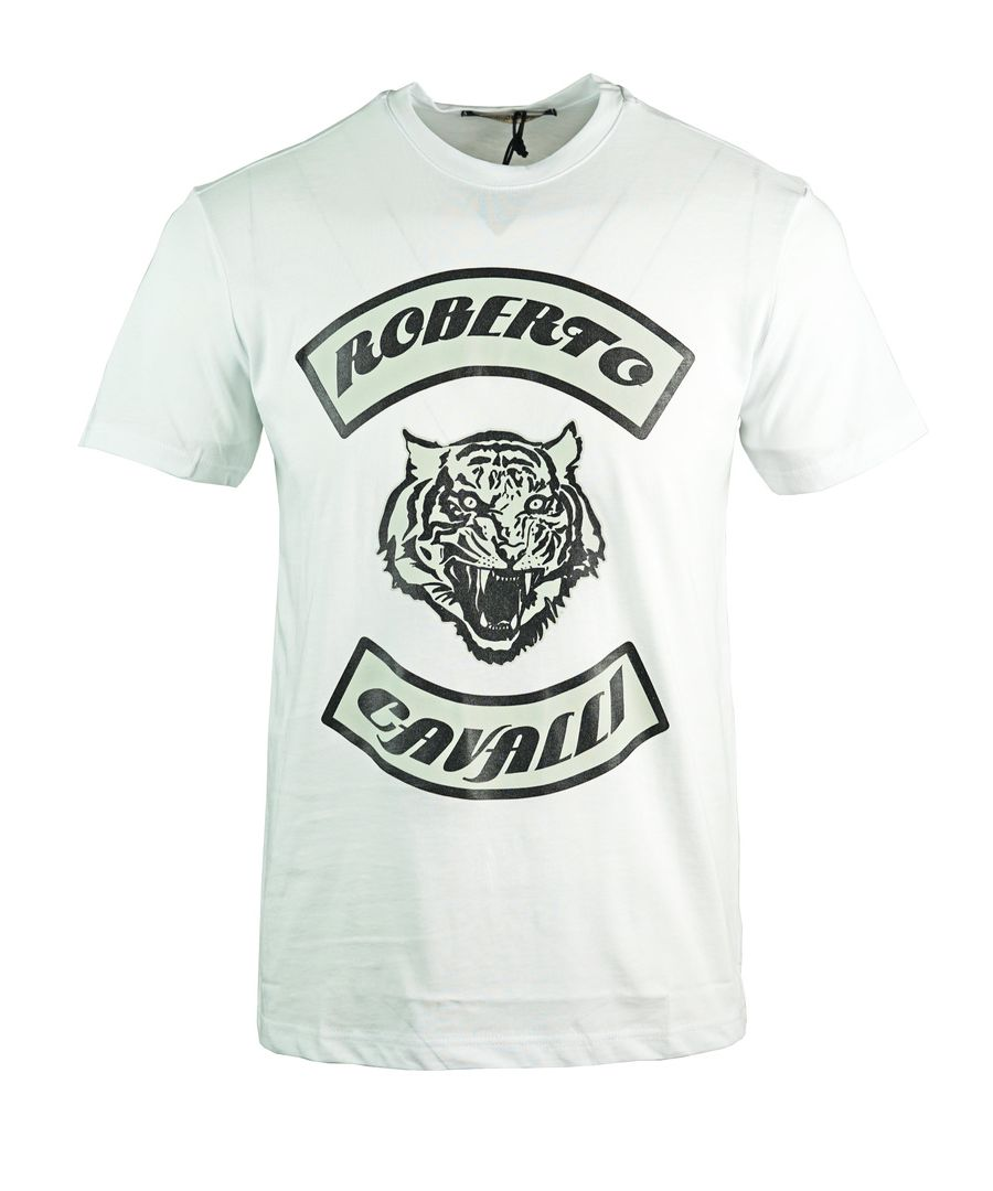 Image for Roberto Cavalli Tiger Head White T-Shirt
