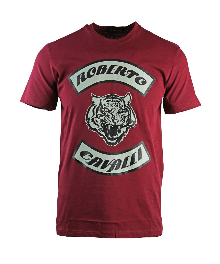 Image for Roberto Cavalli Tiger Head Burgundy T-Shirt