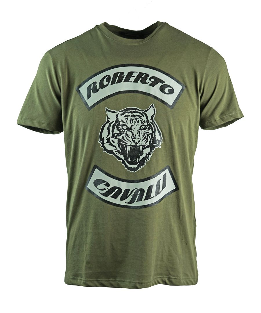 Image for Roberto Cavalli Tiger Head Green T-Shirt