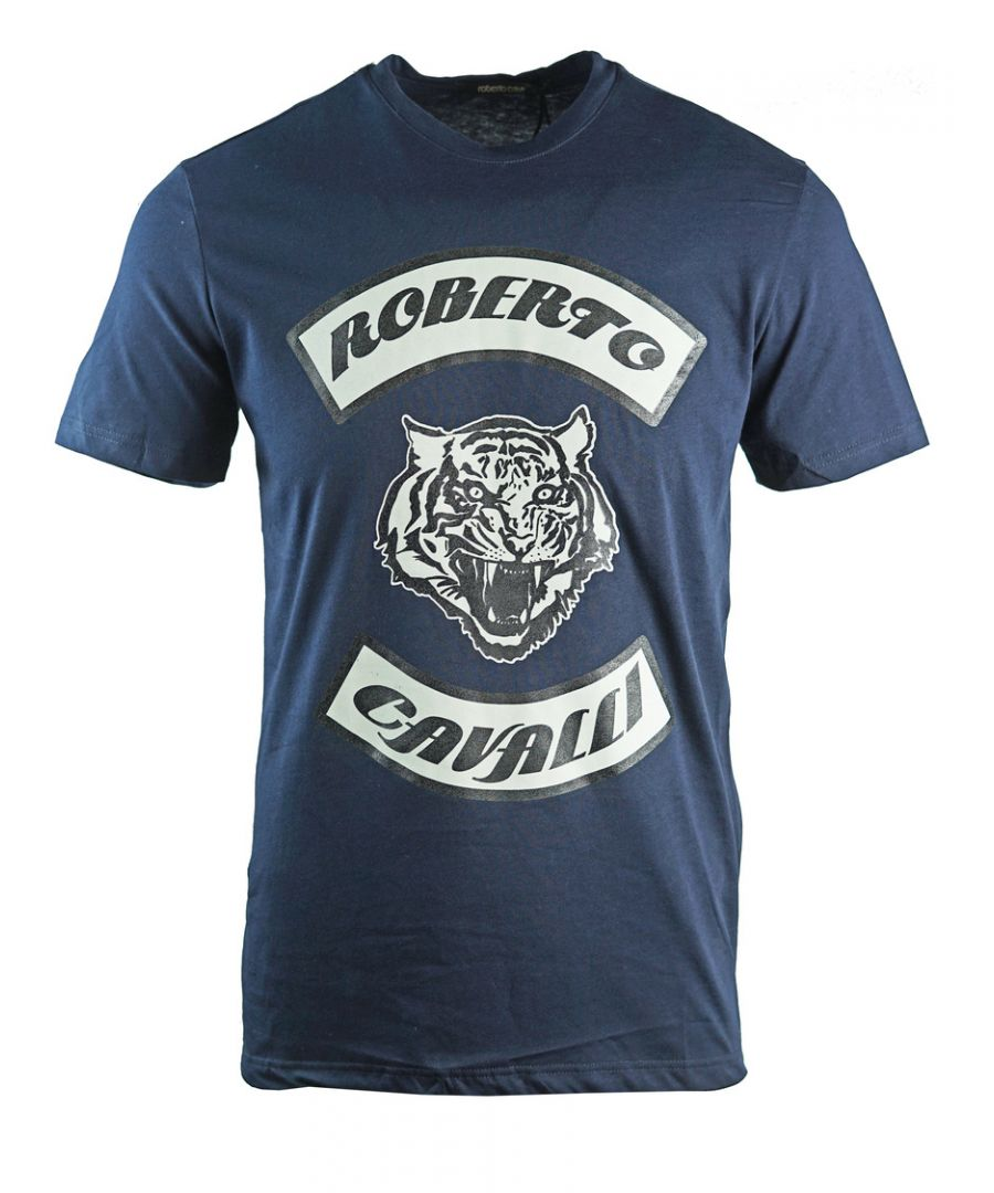 Image for Roberto Cavalli Tiger Head Navy Blue T-Shirt
