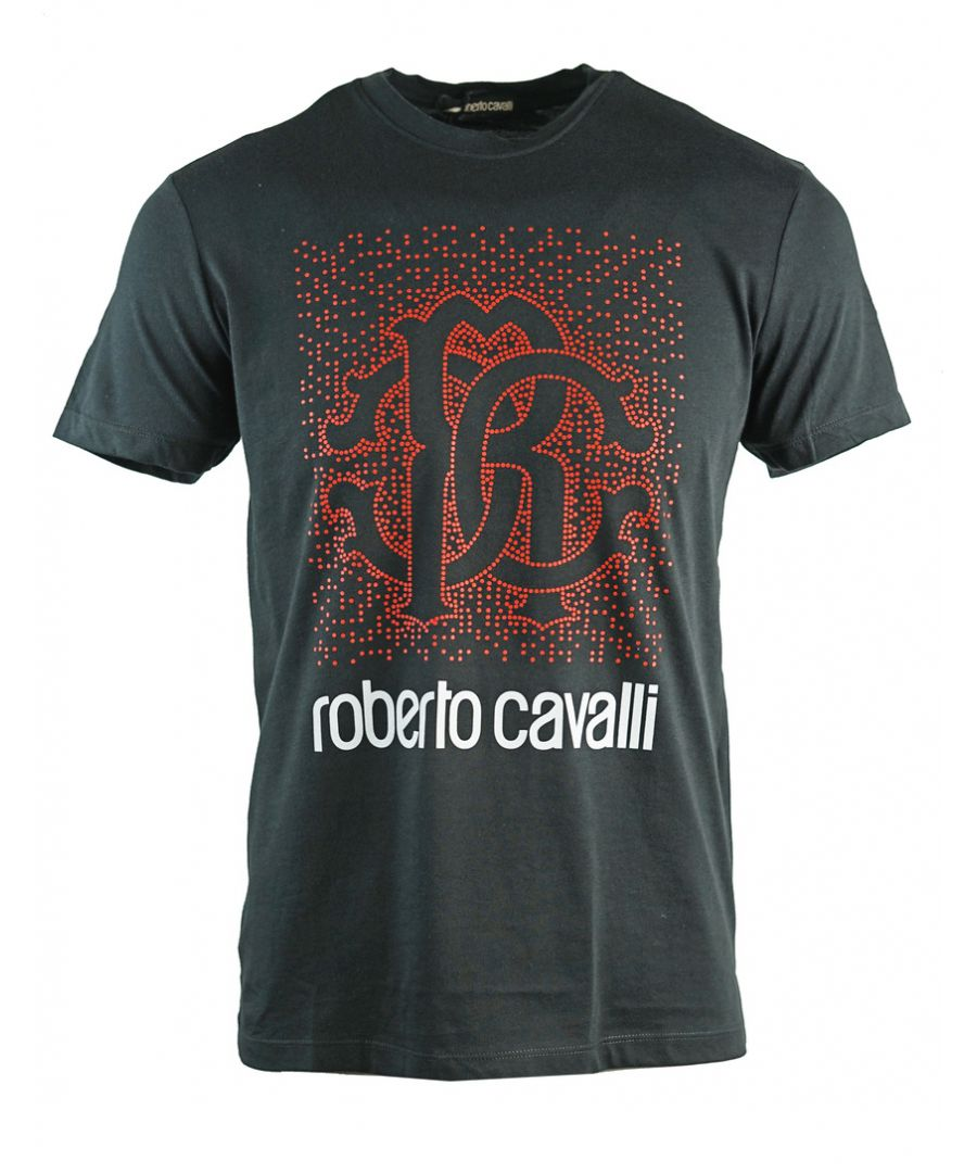 Image for Roberto Cavalli Spotted Logo Design Black T-Shirt