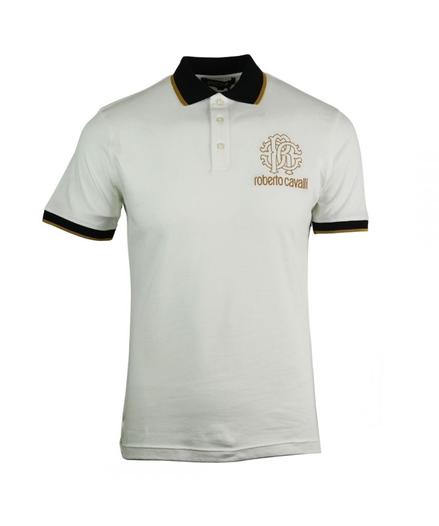 Image for Roberto Cavalli Crest Logo White Polo Shirt