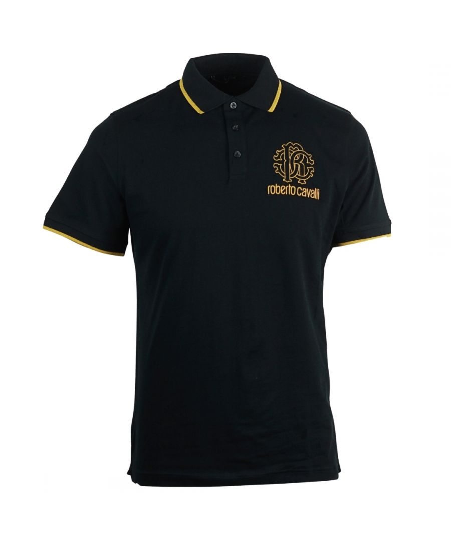 Image for Roberto Cavalli Crest Logo Black Polo Shirt