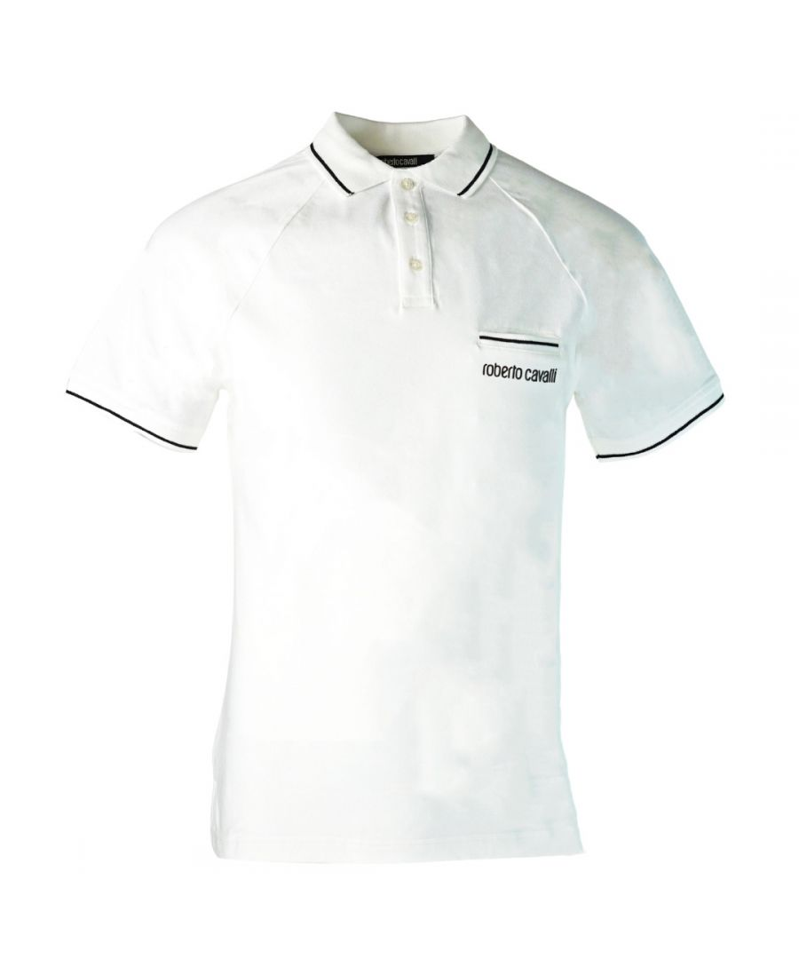 Image for Roberto Cavalli Pocket White Polo Shirt