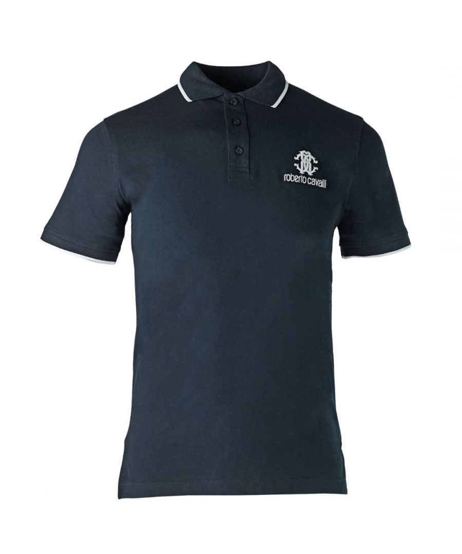 Image for Roberto Cavalli Brand Crest Navy Polo Shirt
