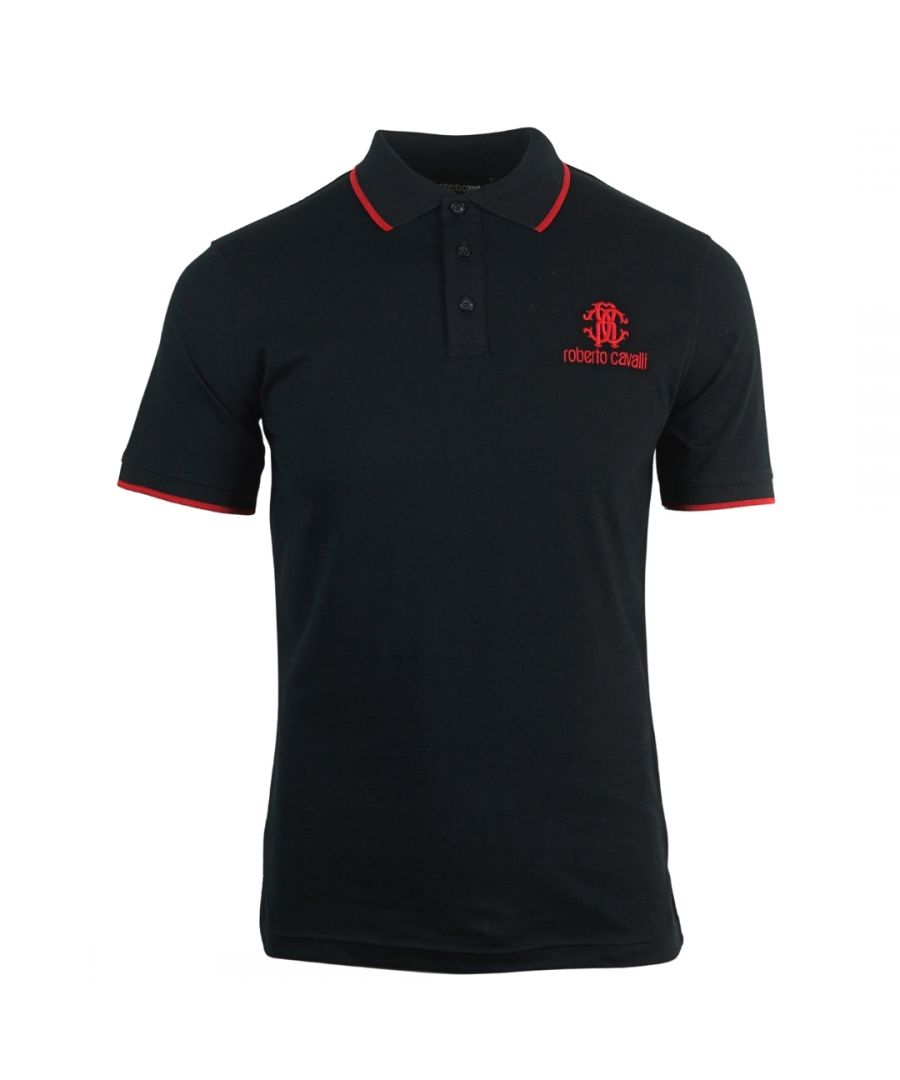 Image for Roberto Cavalli Brand Crest Black Polo Shirt