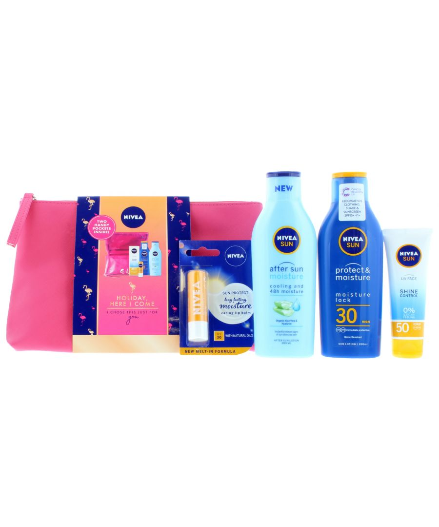 Image for 3 x Nivea Sun Holiday Here I Come - 200ml SPF30 After Sun, Lip Balm, UV Face