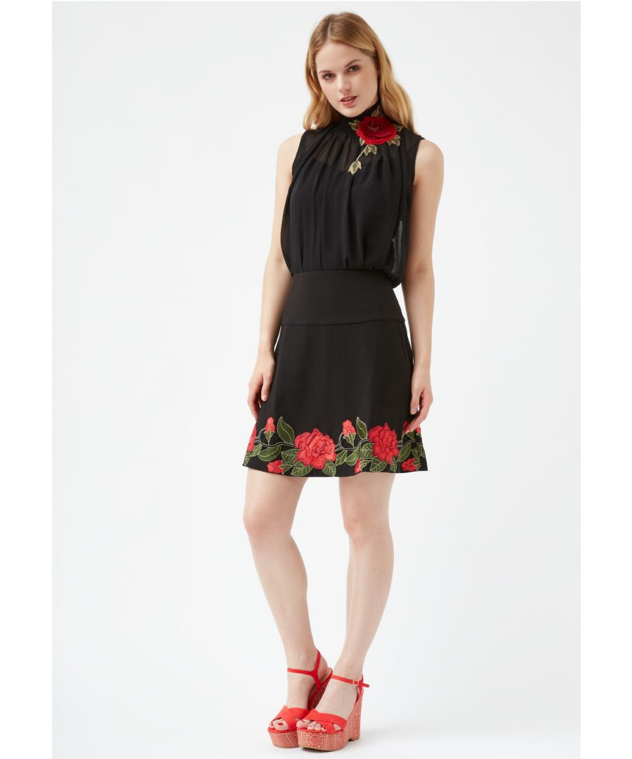 Image for A-Mini Floral Skater Skirt in Black