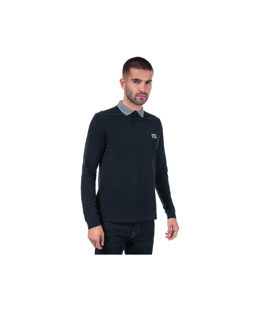 Image for Men's Weekend Offender Tennants Checker Long Sleeve Polo Shirt in Navy