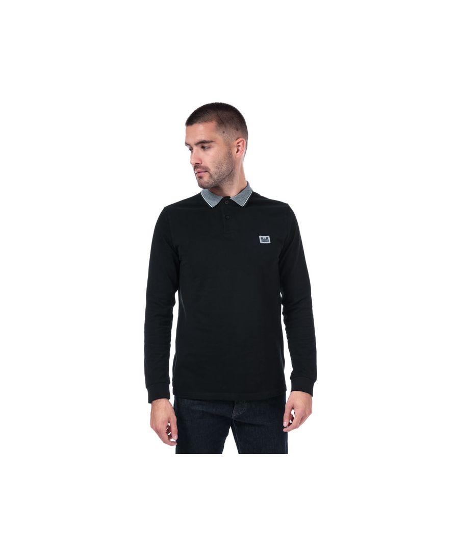Image for Men's Weekend Offender Tennants Checker Collar LS Polo Shirt in Black