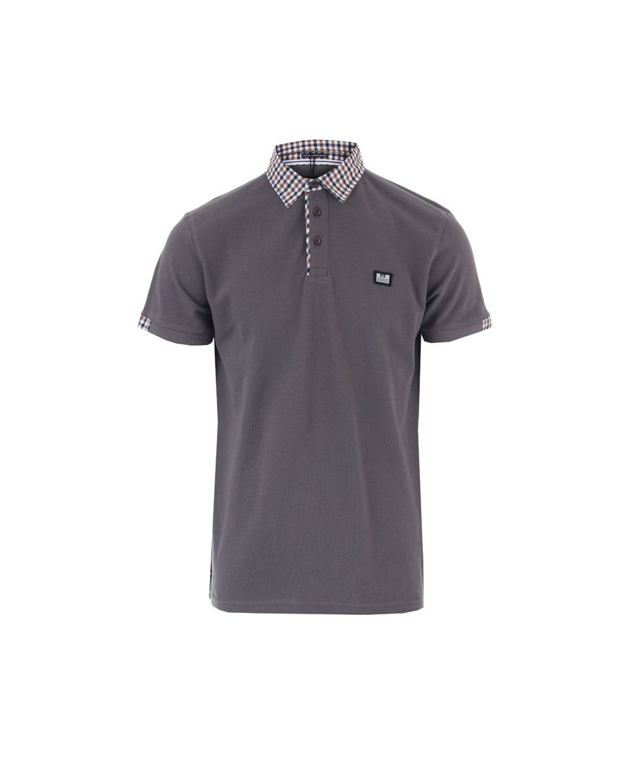 Image for Men's Weekend Offender Amalfi Check Collar Polo Shirts in Charcoal