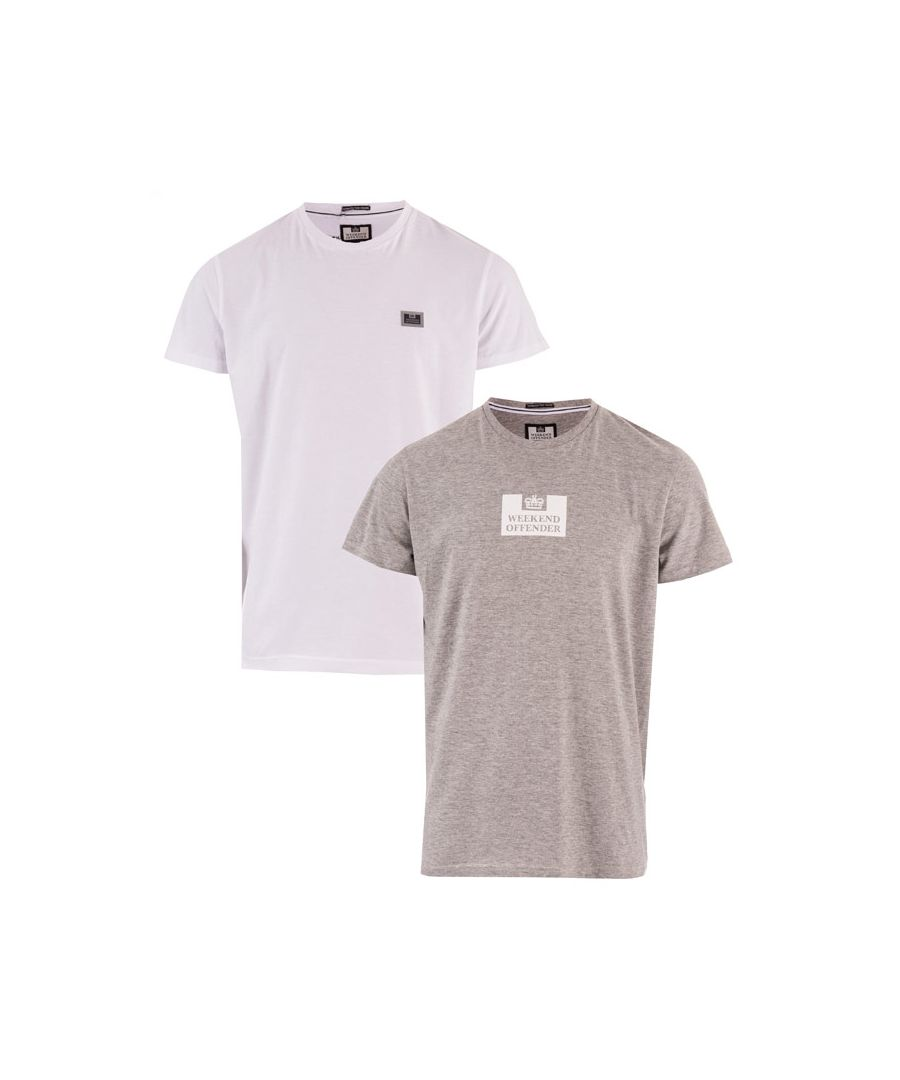 Image for Men's Weekend Offender La Sante 2 Pack Logo T-Shirts in White Grey