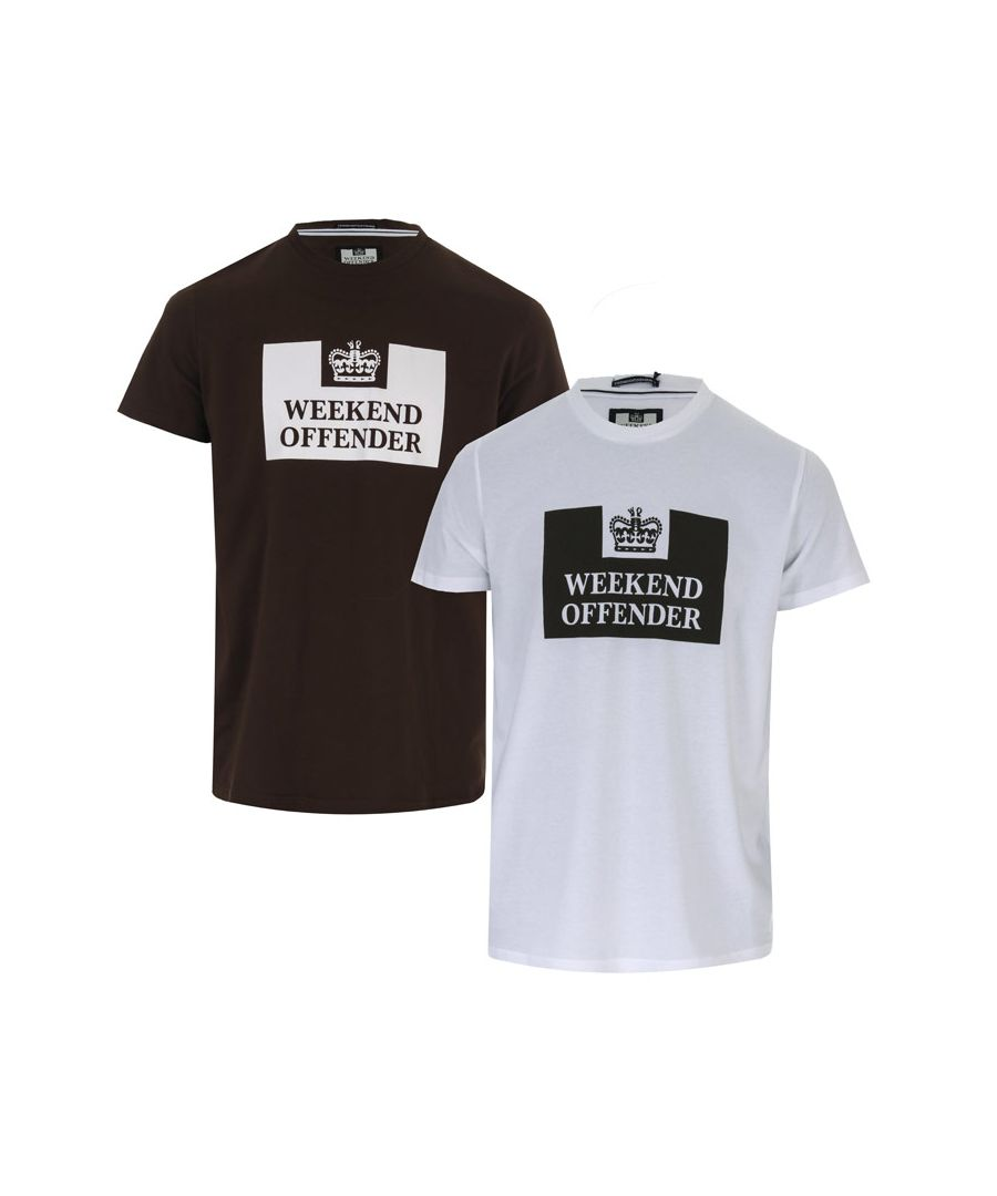 Image for Men's Weekend Offender Tadmur 2 Pack T-Shirts in White Green