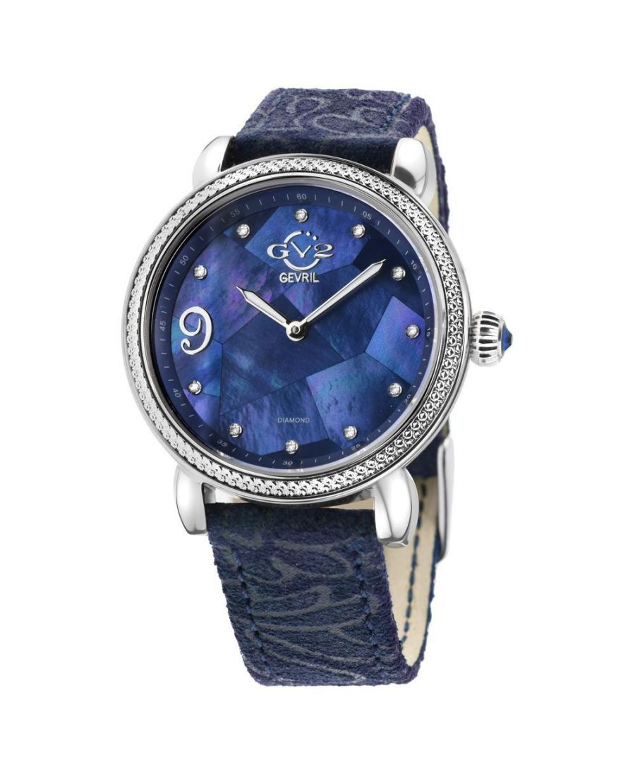 Image for GV2 Ravenna Womens Blue Mother of Pearl Dial Blue Suede Embossed Strap Watch