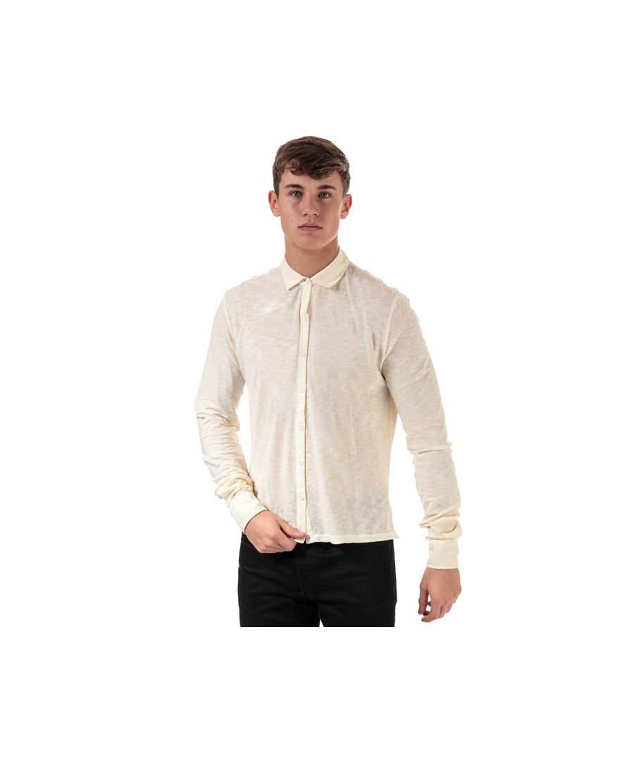 Image for Men's Henri Lloyd Cotton Slub Long Sleeve Shirt in Cream