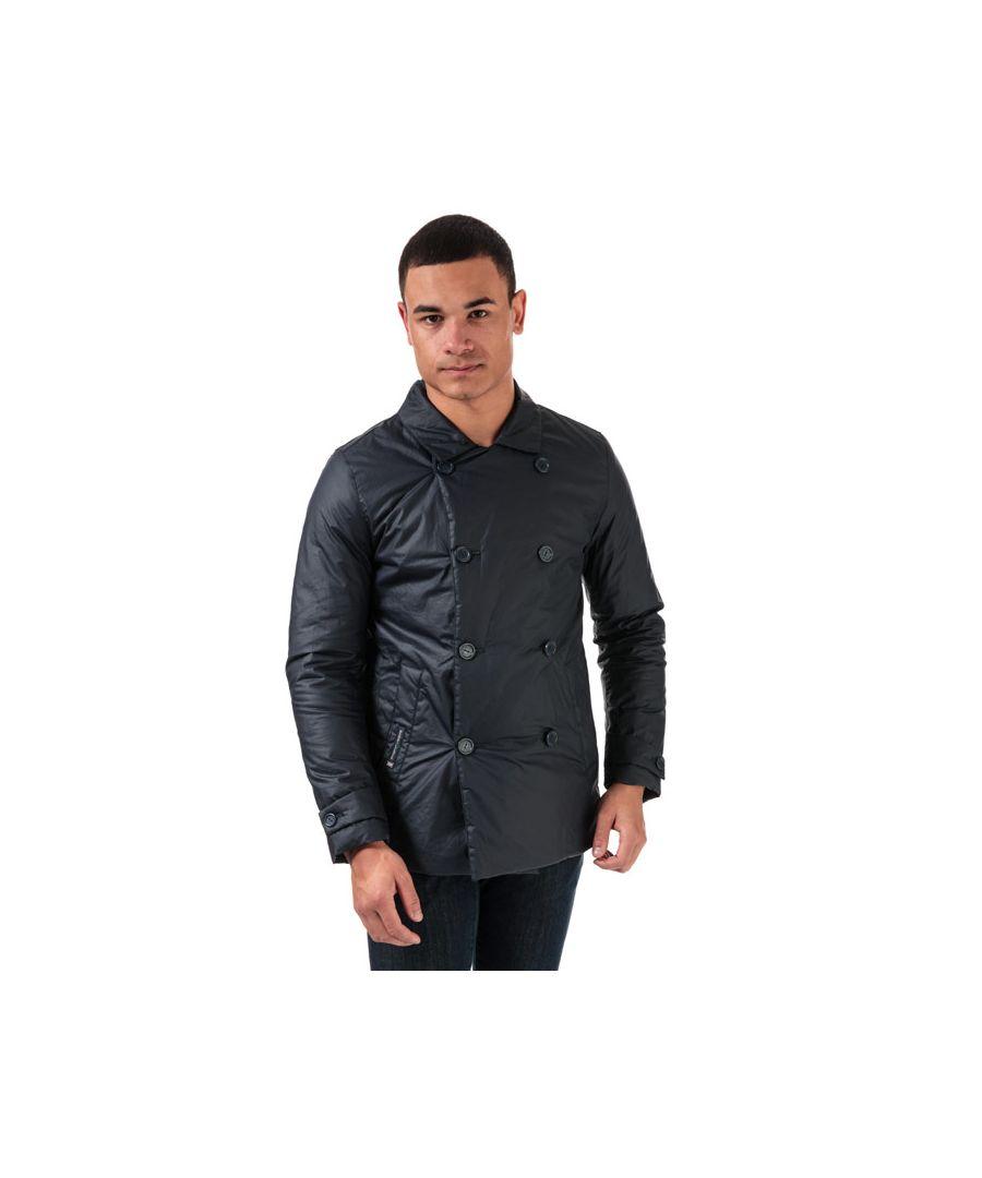 Image for Men's Henri Lloyd Waxed Cotton Peacoat Jacket in Blue