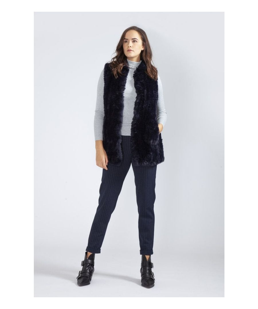 Image for Hand Knitted Faux Fur Long Gilet