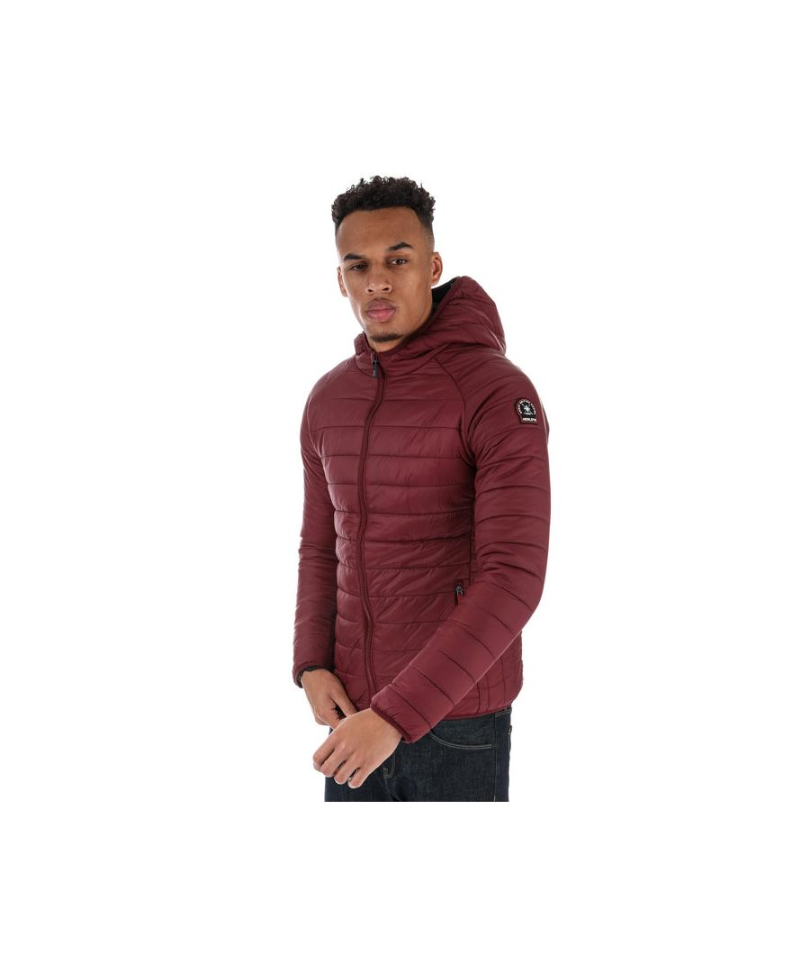 Image for Men's Henleys Carlyon Hooded Puffa Jacket in wine