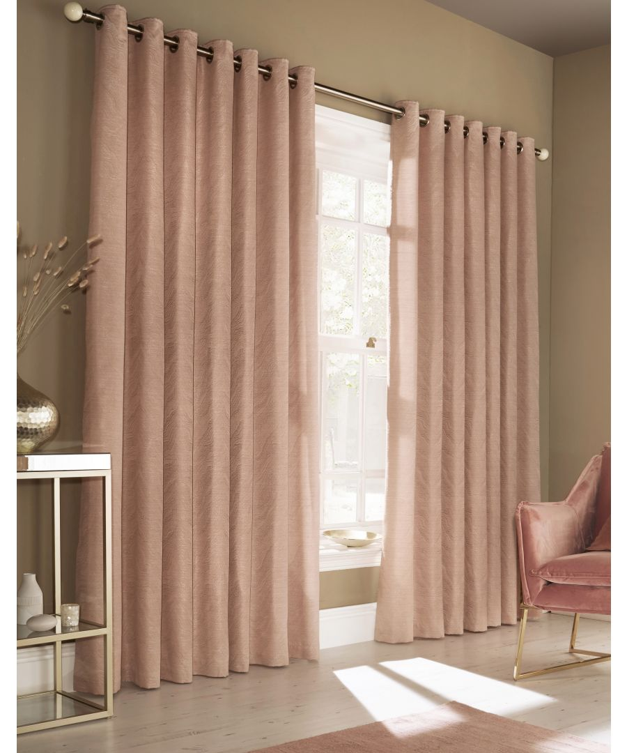 Image for Himalaya Jacquard Eyelet Curtains in Blush