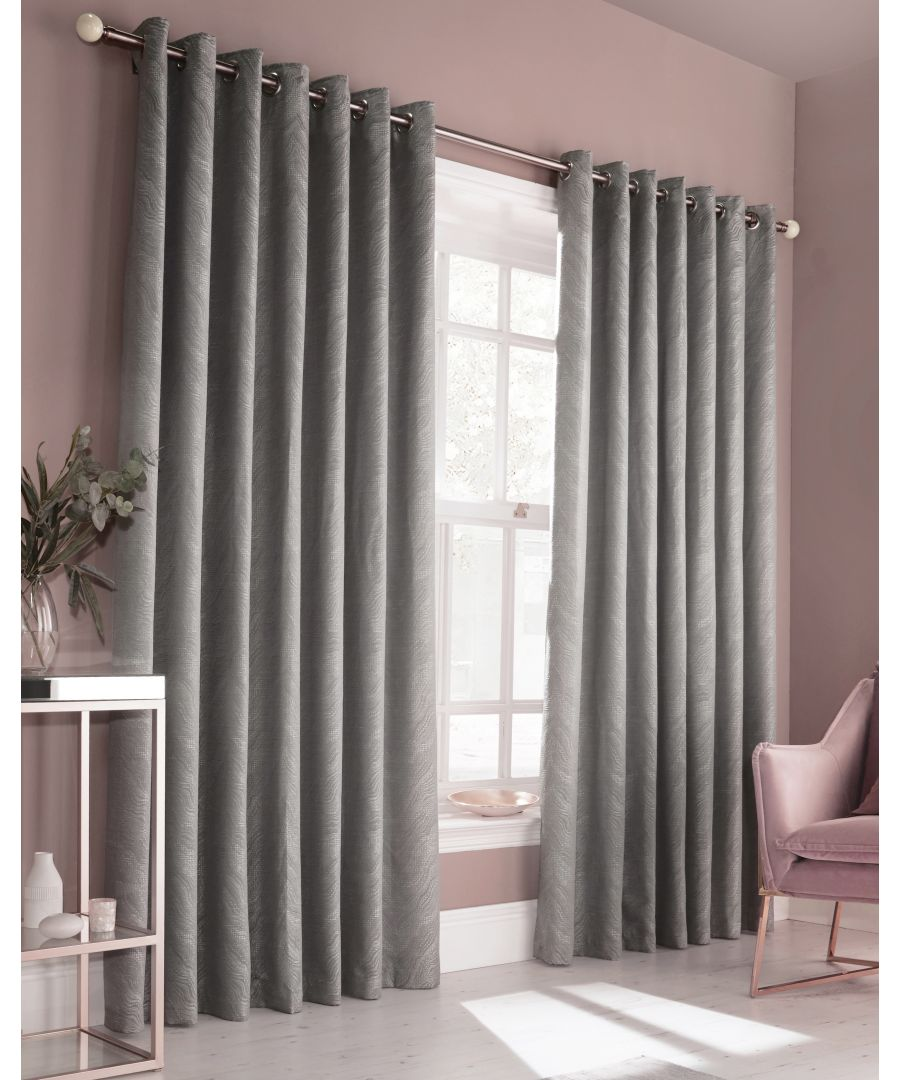 Image for Himalaya Jacquard Eyelet Curtains in Silver
