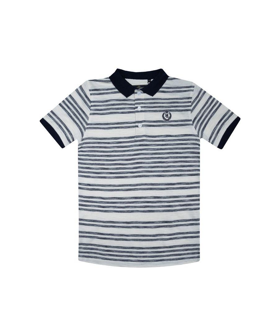 Image for Boy's Henri Lloyd Junior Engineered Slub Stripe Polo Shirt in Blue
