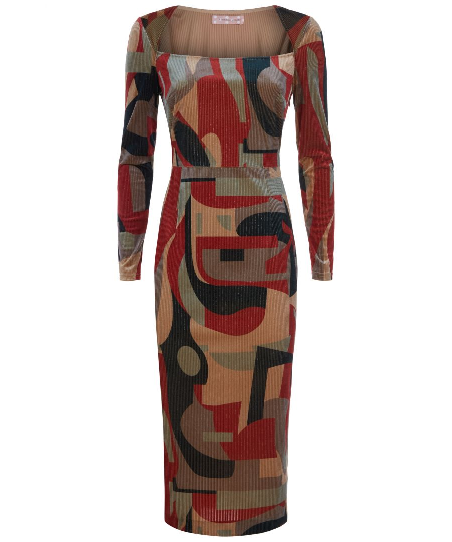 Image for The Maud Tube Midi Dress in Rust and Beige