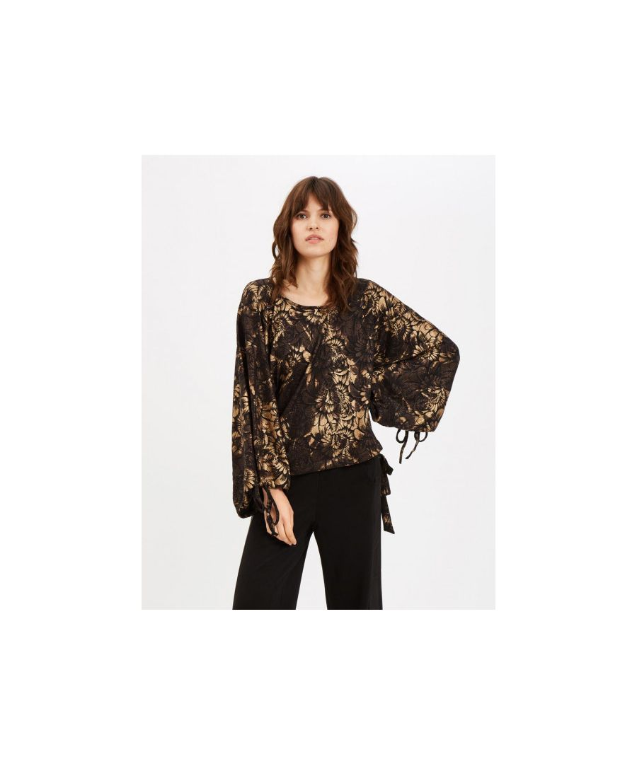 Image for Maude Oversized Floral Top in Black and Gold