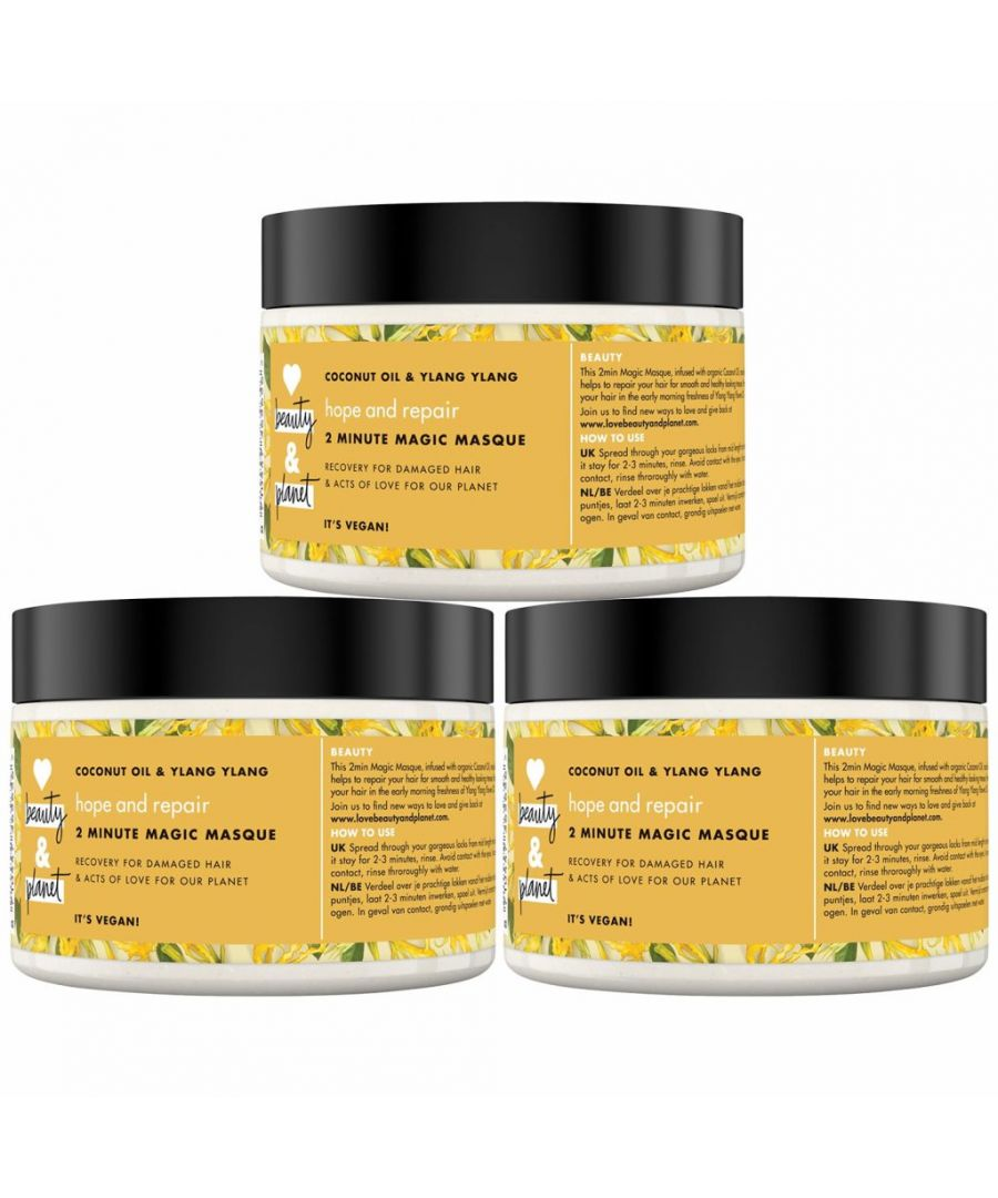 Image for Love Beauty & Planet Hope and Repair Coconut Oil & Ylang Ylang 2 Minute Magic Masque 300ml (Pack of 3)