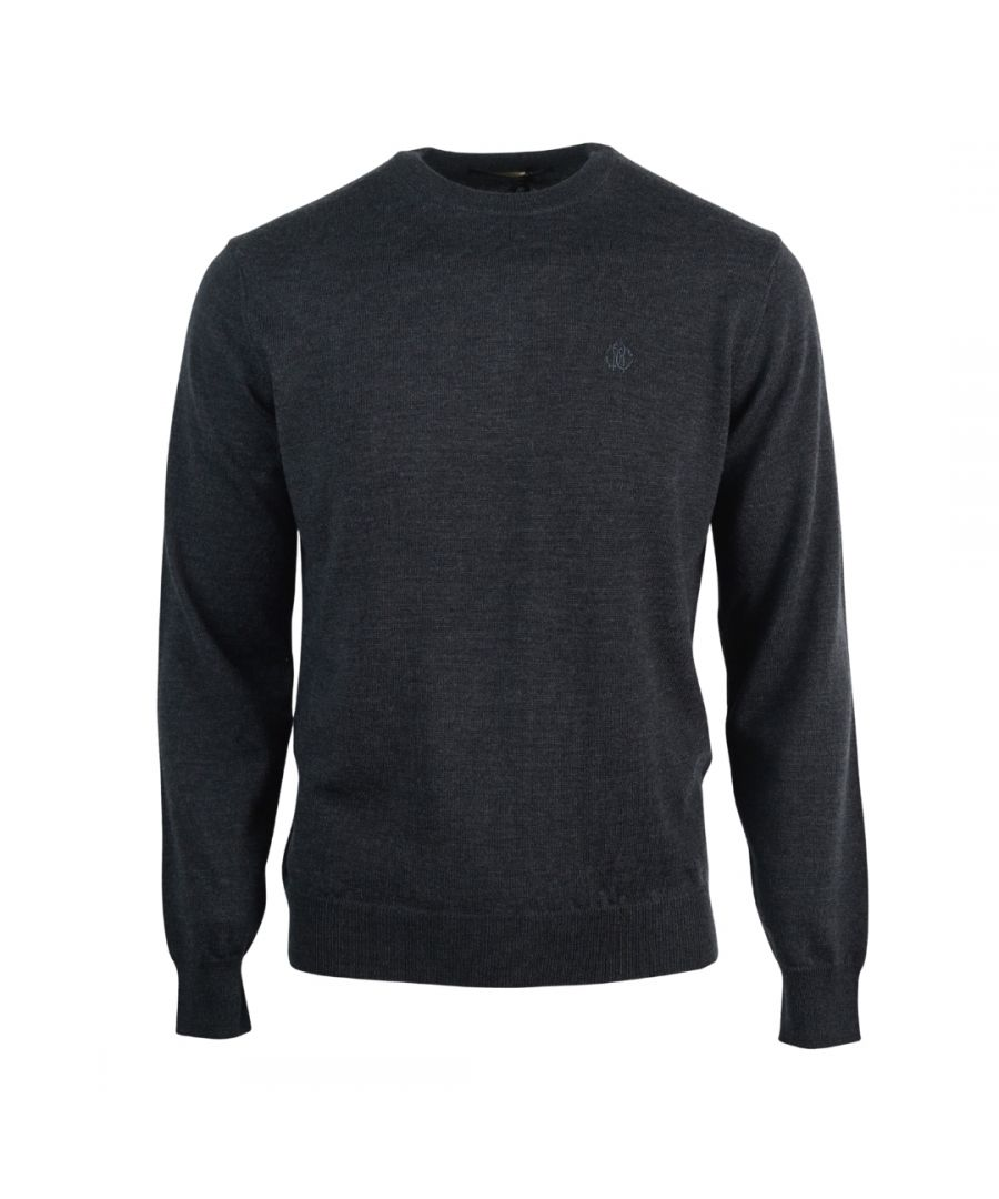 Image for Roberto Cavalli Brand Crest Knitted Dark Grey Sweater