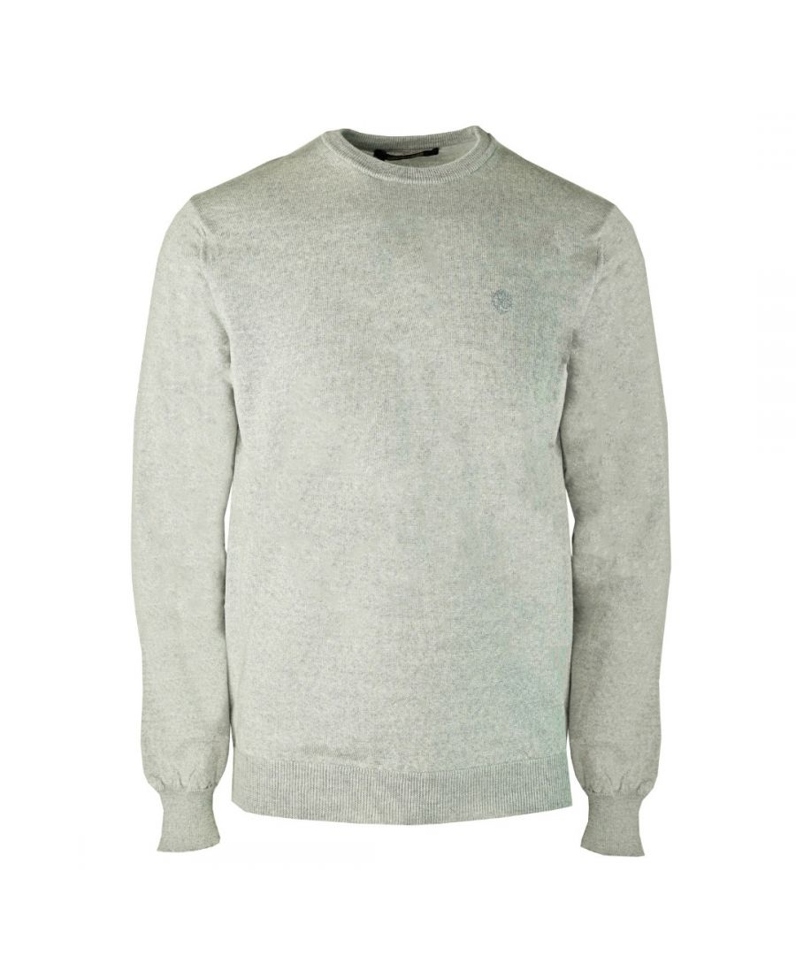 Image for Roberto Cavalli Brand Crest Knitted Light Grey Sweater