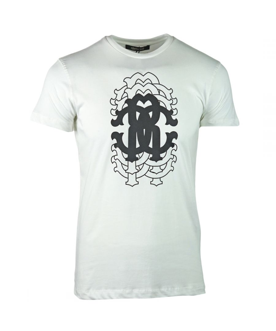 Image for Roberto Cavalli Repetition Logo White T-Shirt