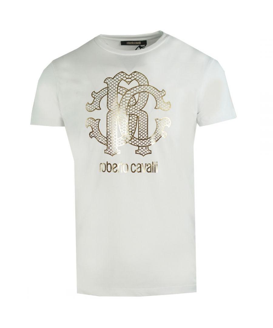 Image for Roberto Cavalli Gold Snake Skin Logo White T-Shirt