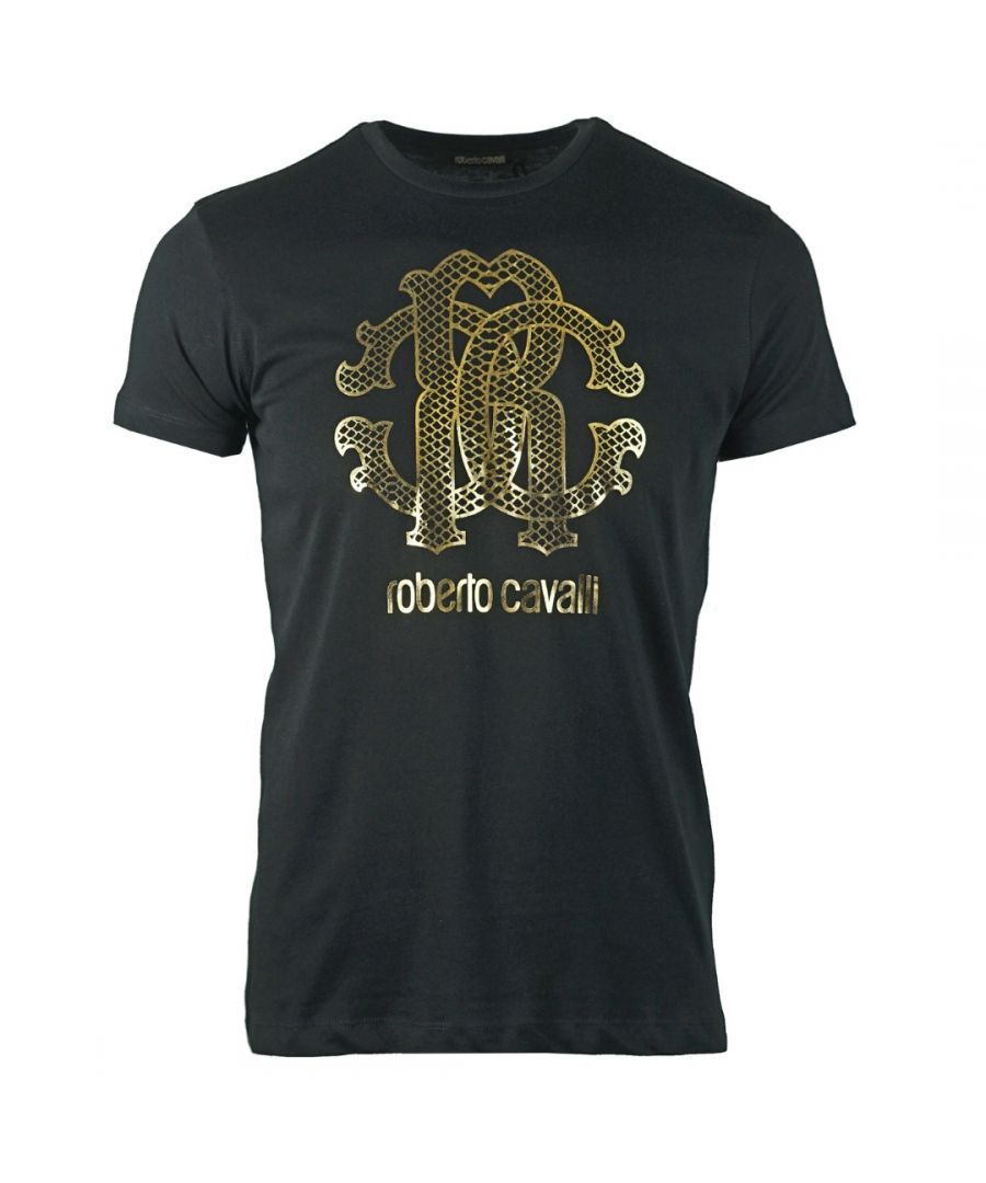 Image for Roberto Cavalli Gold Snake Skin Logo Black T-Shirt