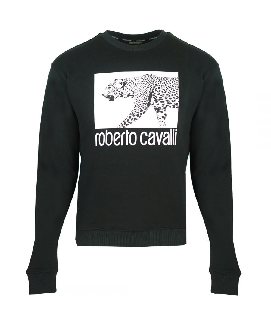 Image for Roberto Cavalli Leopard Box Logo Black Jumper