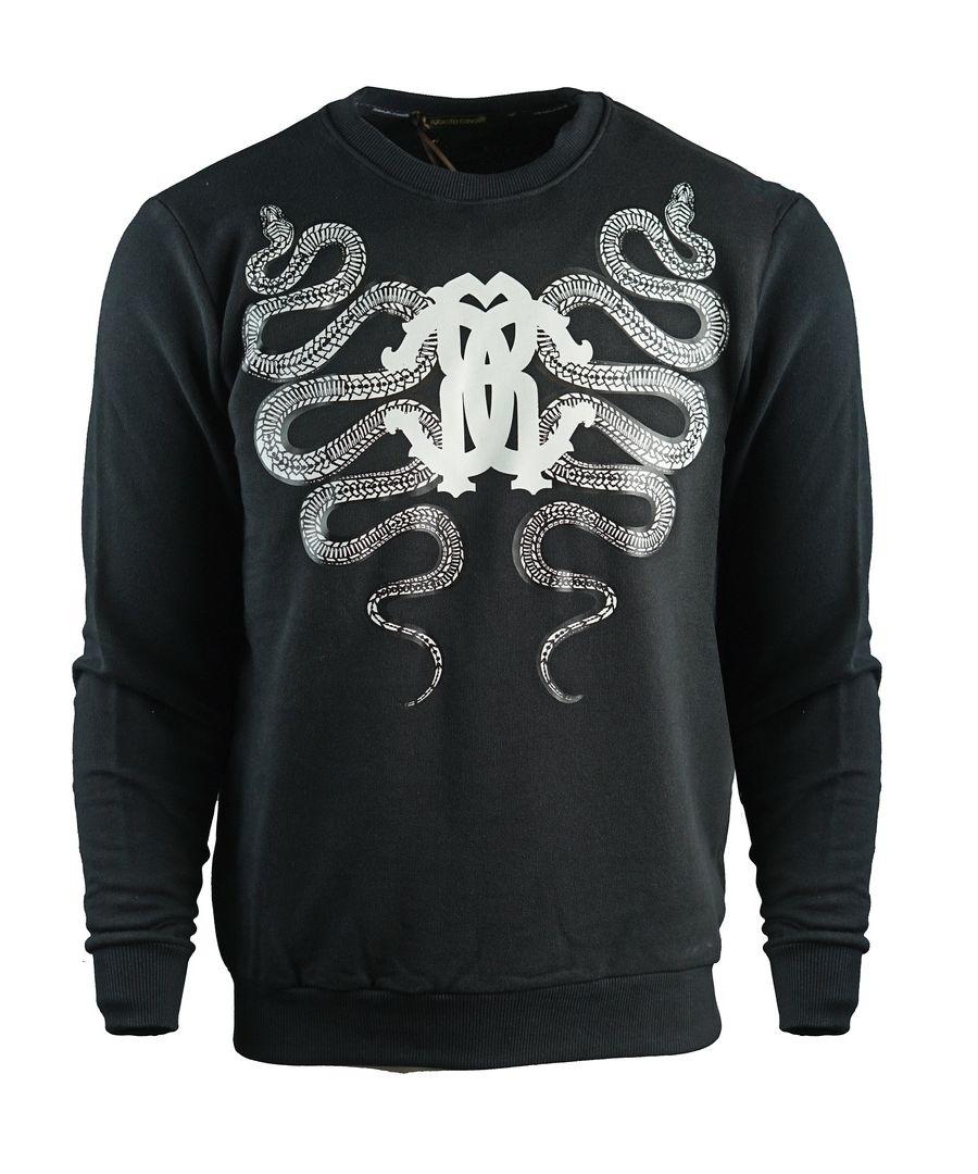 Image for Roberto Cavalli Snake Crest Black Sweatshirt