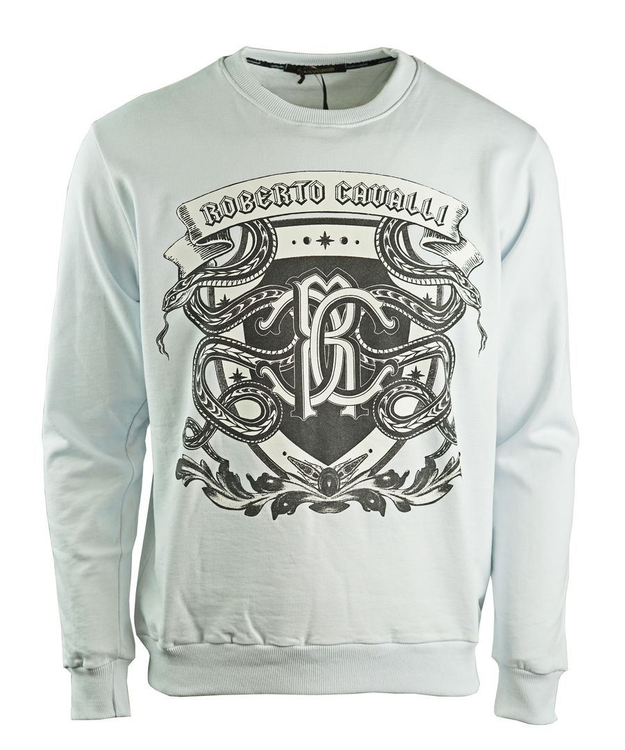 Image for Roberto Cavalli Snake Crest Logo White Sweatshirt