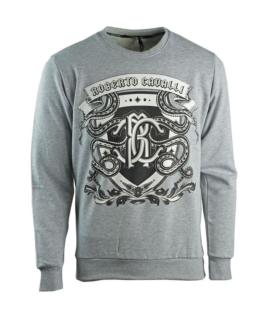 Image for Roberto Cavalli Snake Crest Logo Grey Sweatshirt