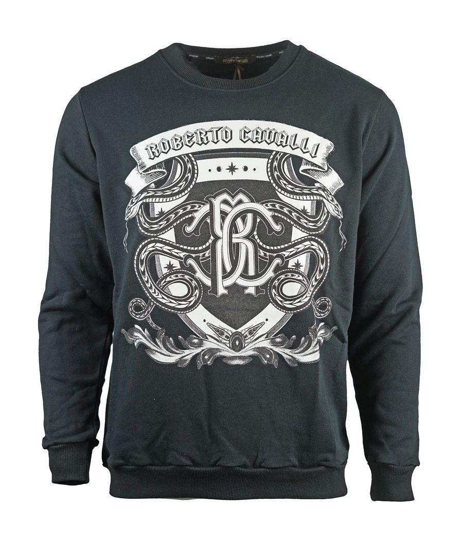 Image for Roberto Cavalli Snake Crest Logo Black Sweatshirt