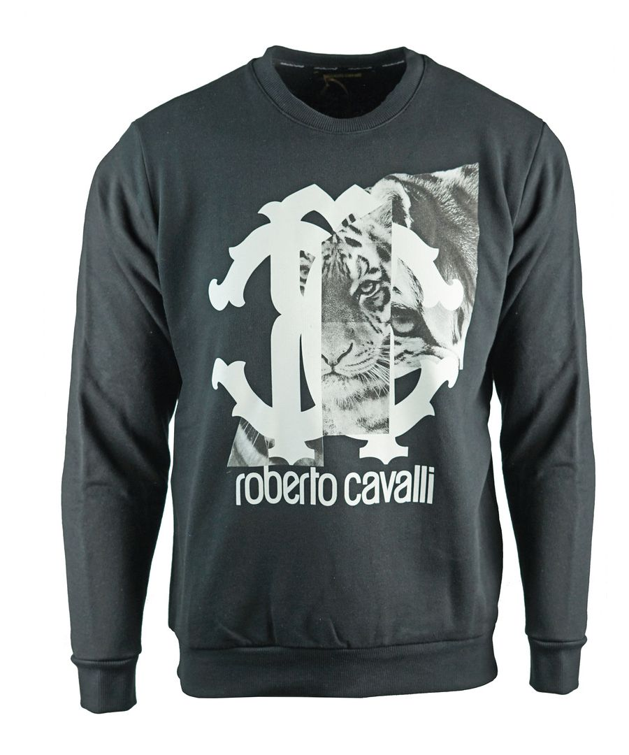 Image for Roberto Cavalli Large Tiger Logo Black Sweatshirt