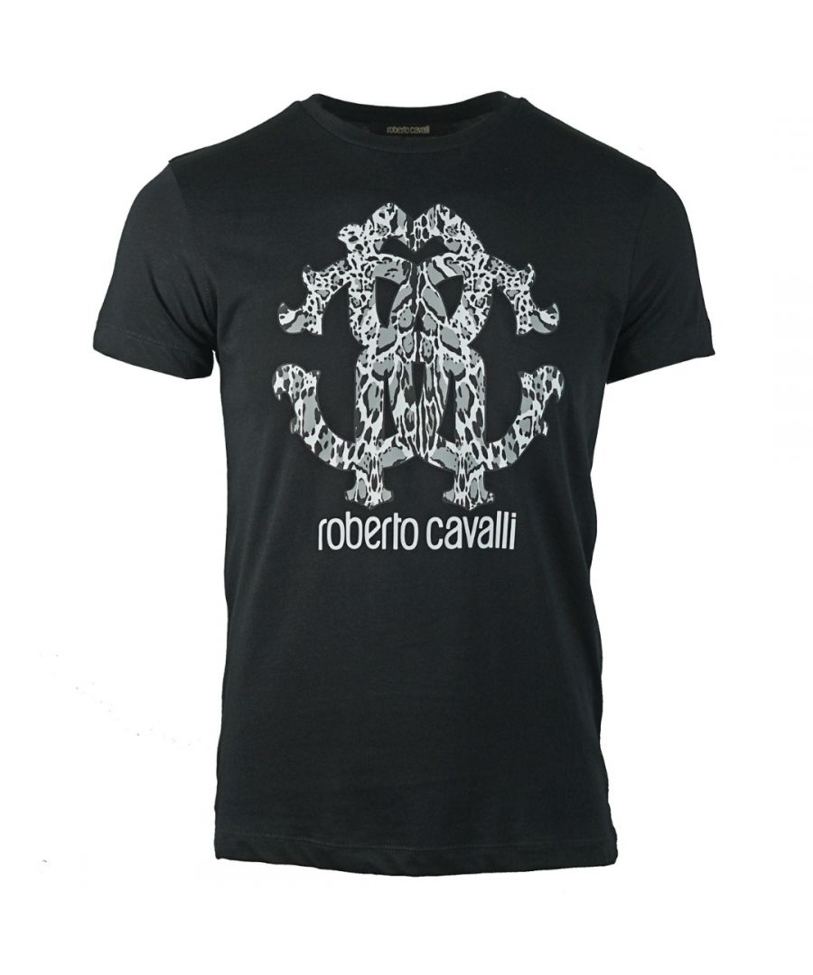 Image for Roberto Cavalli Animal Print Logo Black T-Shirt