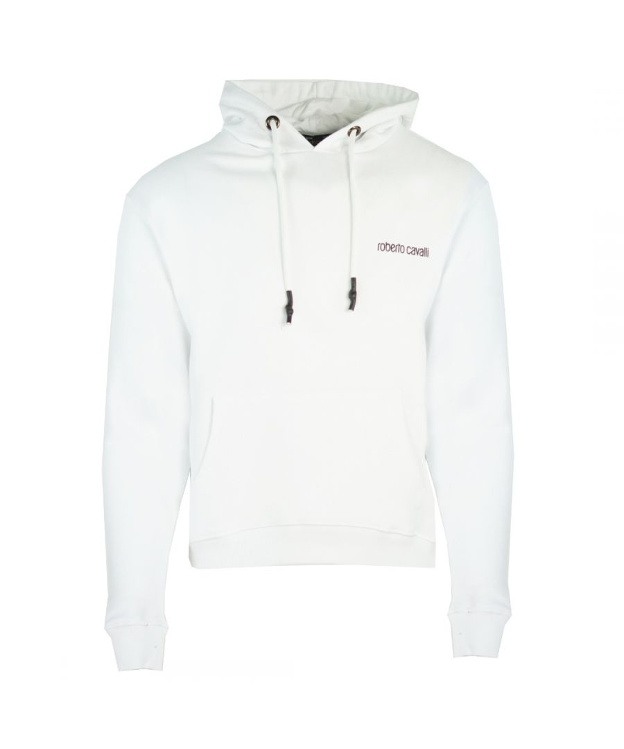 Image for Roberto Cavalli Leopard Logo White Hoodie