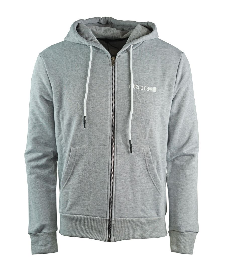 Image for Roberto Cavalli Large Snake Crest Grey Zip Up Hoodie