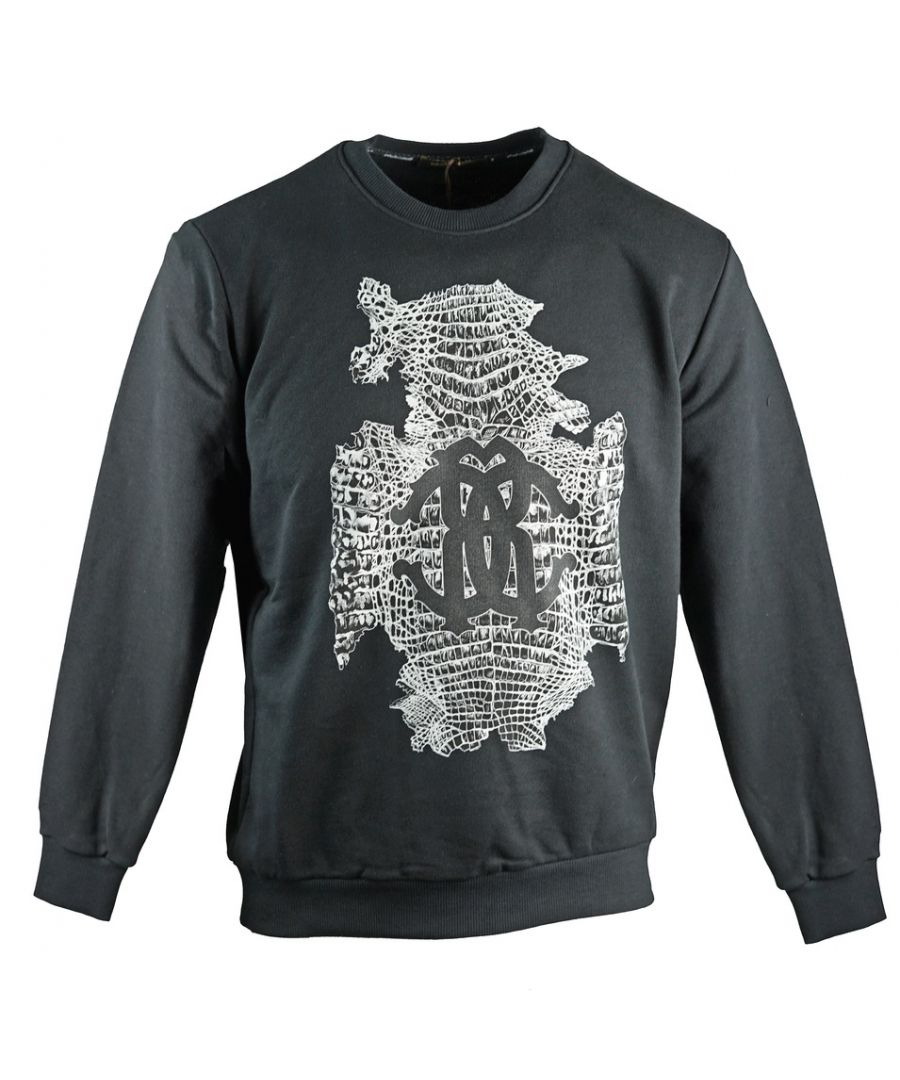 Image for Roberto Cavalli Snake Skin Logo Black Sweatshirt