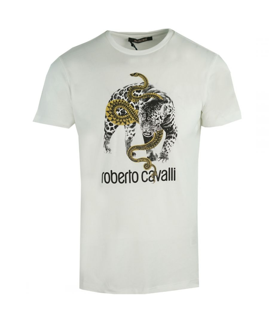 Image for Roberto Cavalli Captured Logo White T-Shirt