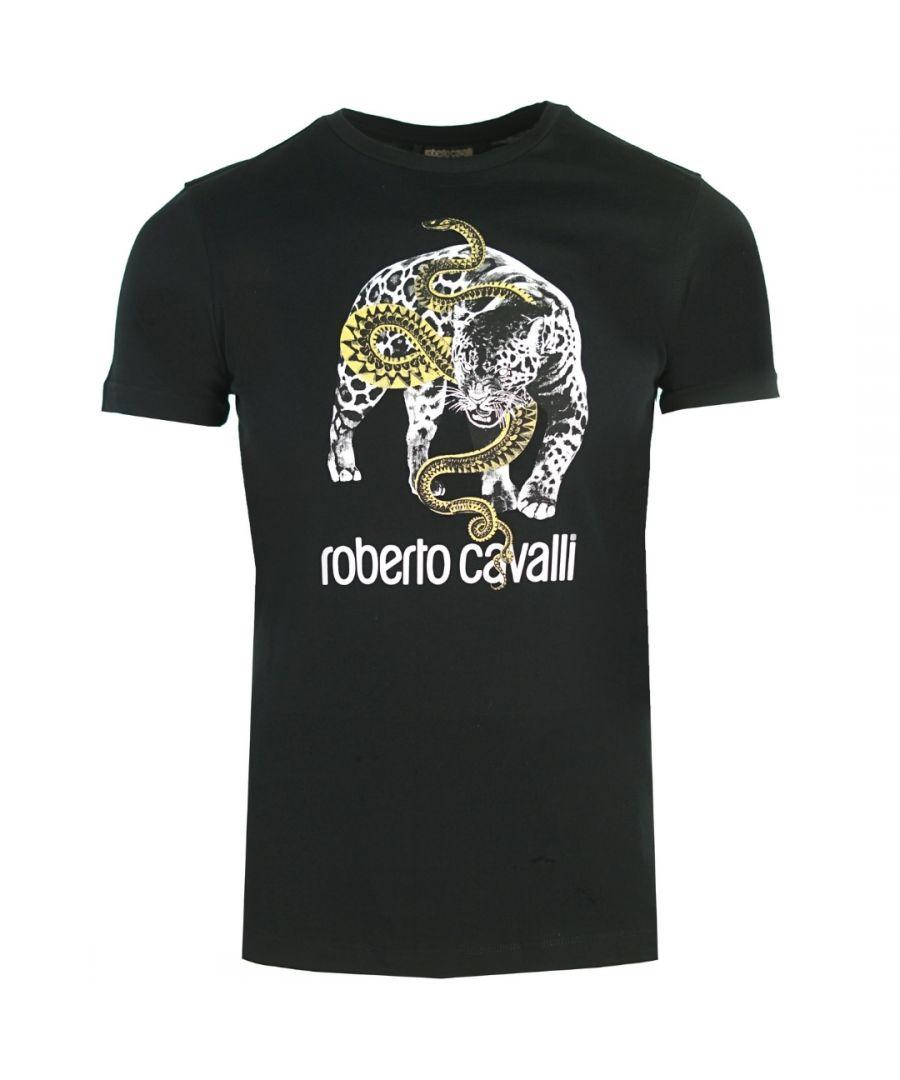 Image for Roberto Cavalli Captured Logo Black T-Shirt