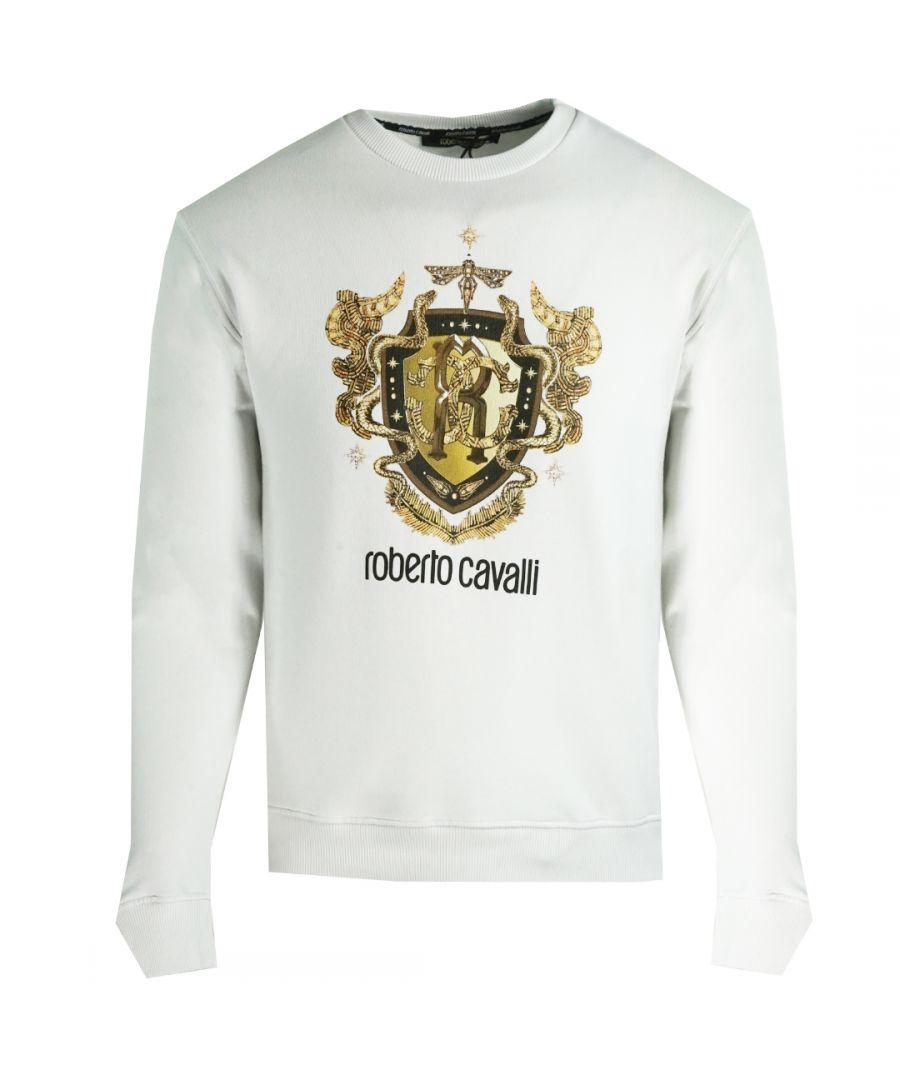 Image for Roberto Cavalli RC Gold Shield Logo White Jumper